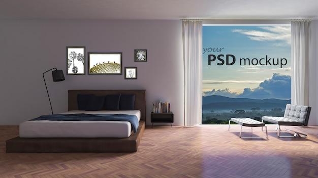 Maquette de design d'intérieur avec grande fenêtre dans la chambre