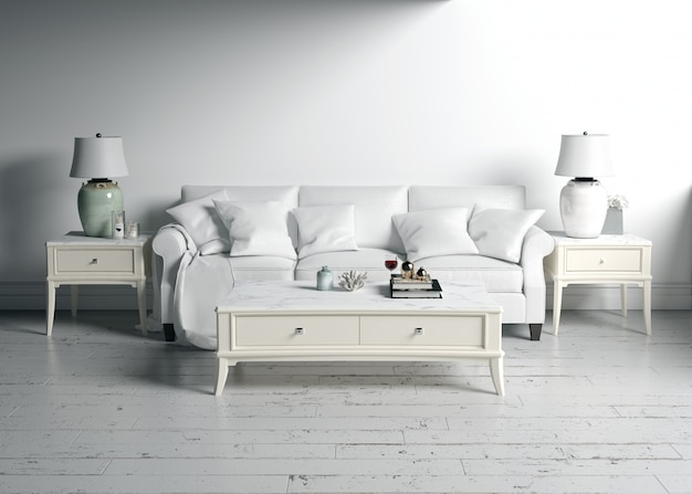 Maquette de design d'intérieur de salon avec des meubles blancs