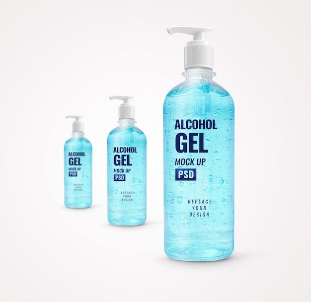 Maquette de désinfectant pour les mains de pompe à bouteille de gel bleu