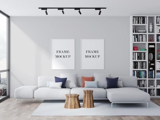 Maquette de deux cadres blancs dans un beau salon lumineux