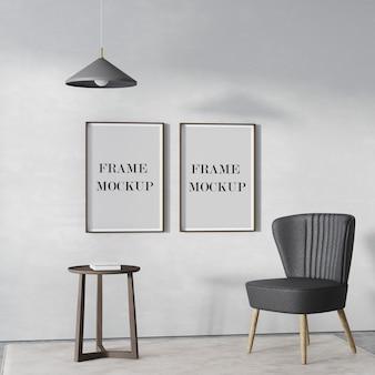 Maquette de deux cadres en bois vides sur le mur avec chaise