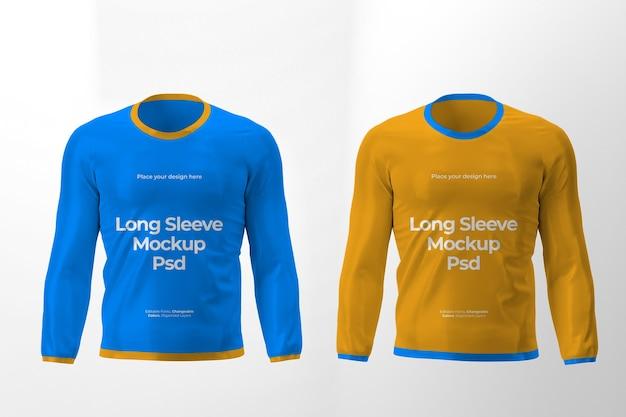 Maquette de deux design de t-shirt à manches longues isolés