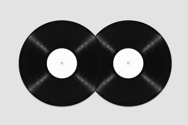 Maquette de deux disques vinyle vierges vue de dessus