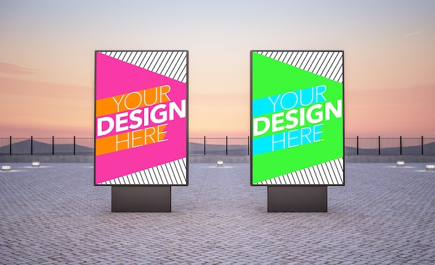 Maquette de deux panneaux d'affichage pour les annonces commerciales