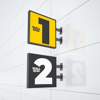Maquette de deux panneaux de signalisation de logo suspendus carrés modernes