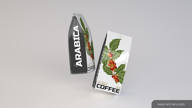 Maquette de deux sacs de café minces
