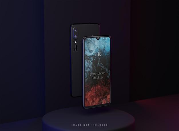 Maquette de deux smartphones flottants