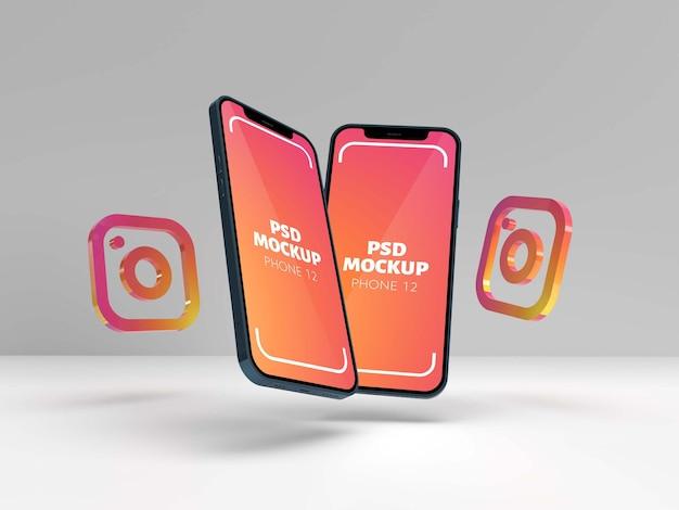 Maquette de deux téléphones 12 avec instagram
