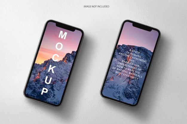 Maquette de deux téléphones et écrans