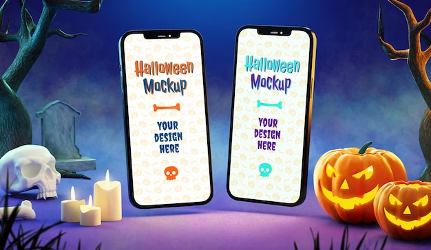 Maquette de deux téléphones d'halloween dans une scène nocturne mystérieuse avec du brouillard et des citrouilles