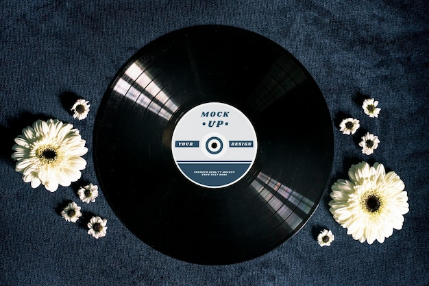 Maquette de disque vinyle noir rétro