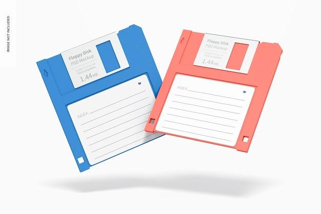 Maquette de disquettes, chute