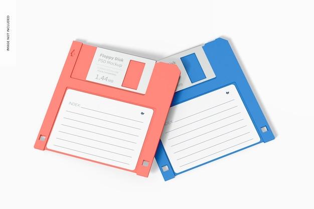 Maquette de disquettes, vue de dessus