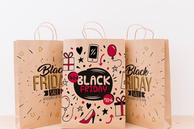 Maquette de divers sacs pour le vendredi noir