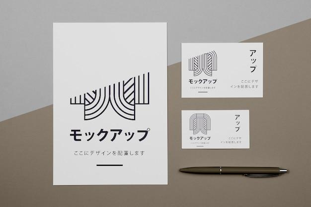 Maquette de documents commerciaux japonais