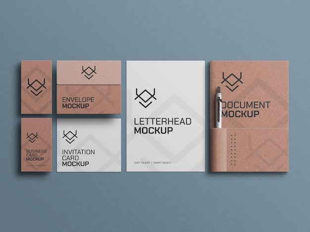 Maquette de documents papier, de cartes de visite et d'enveloppes
