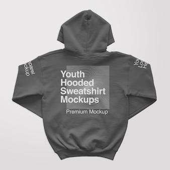 Maquette de dos de sweat à capuche pour jeunes