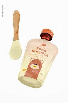 Maquette de doypack et cuillère d'aliments pour bébés