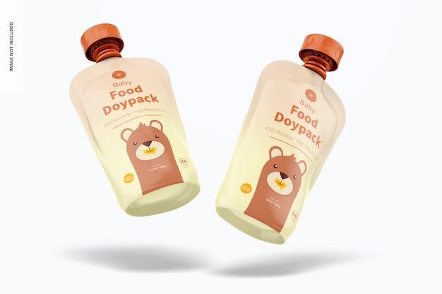 Maquette de doypacks d'aliments pour bébés