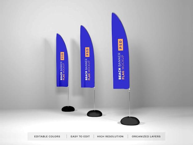 Maquette de drapeau de bannière de plage réaliste