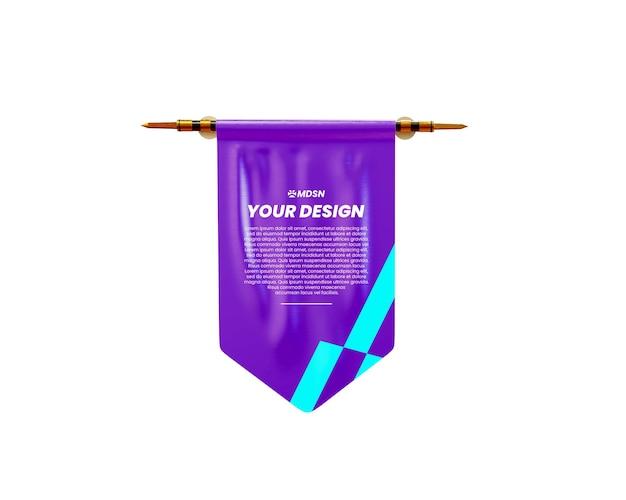 Maquette de drapeau de bannière de rendu 3d isolée