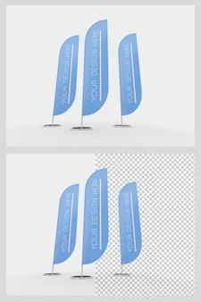 Maquette de drapeaux publicitaires isolés