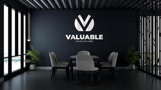 Maquette du logo 3d du mur de l'entreprise dans la salle de réunion du bureau d'affaires