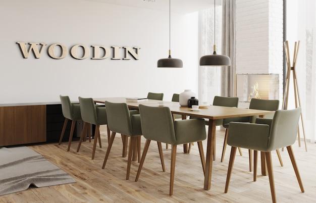 Maquette du logo de bureau 3d en bois dans un espace de travail intérieur simple et confortable