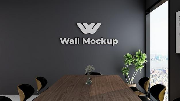 Maquette du logo de bureau argenté dans un espace de travail intérieur élégant et classique