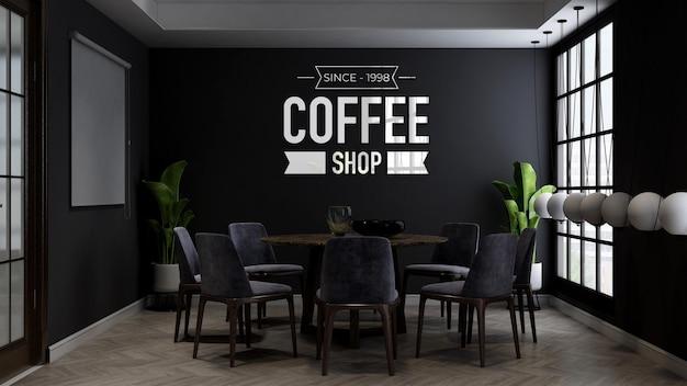 Maquette du logo du mur du café dans la salle de réunion du café ou du restaurant
