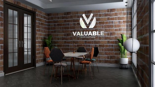 Maquette du logo du mur du restaurant dans la salle de réunion du café ou du restaurant avec mur de briques