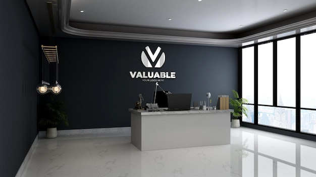 Maquette du logo du mur de l'entreprise en argent dans la salle du directeur minimaliste