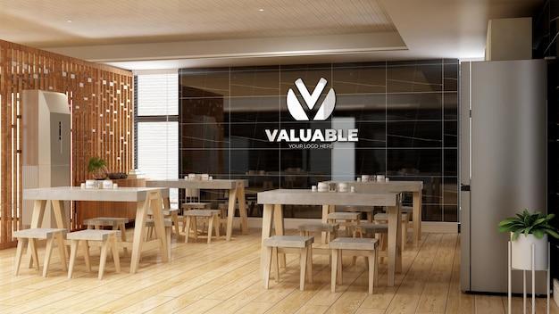 Maquette du logo du mur de l'entreprise dans le garde-manger du bureau