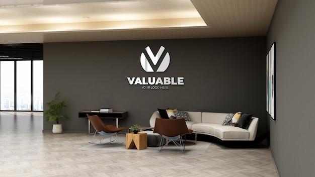 Maquette du logo du mur de l'entreprise dans la salle d'attente du hall du bureau