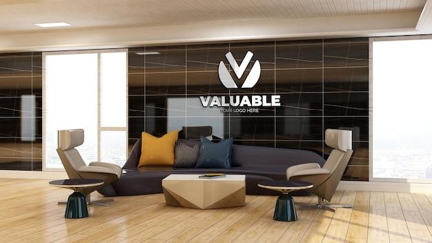 Maquette du logo de l'entreprise 3d dans le hall d'attente du bureau