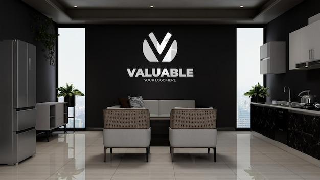 Maquette du logo de l'entreprise en 3d dans la salle d'attente du hall du bureau en bois avec canapé