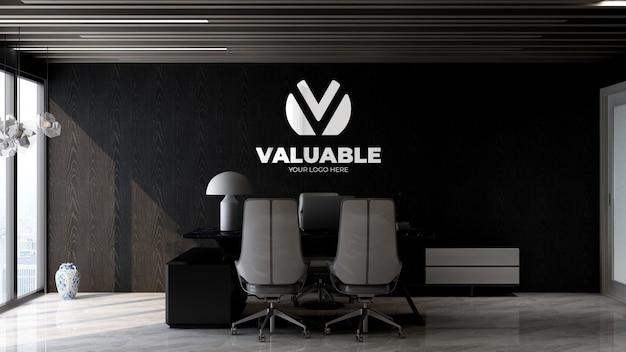 Maquette du logo de l'entreprise en 3d dans la salle du directeur de bureau moderne avec un design intérieur élégant