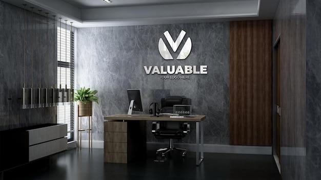 Maquette du logo de l'entreprise dans le bureau du directeur roo