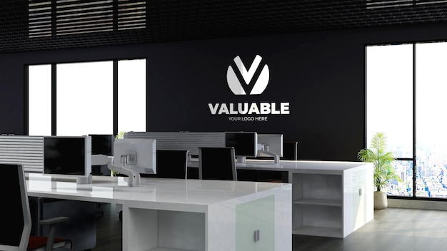 Maquette du logo de l'entreprise dans l'espace de travail du bureau