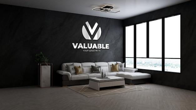 Maquette du logo de l'entreprise dans le hall d'attente du bureau