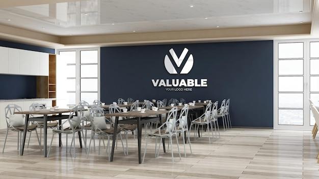 Maquette du logo de l'entreprise dans le restaurant ou le garde-manger moderne du bureau