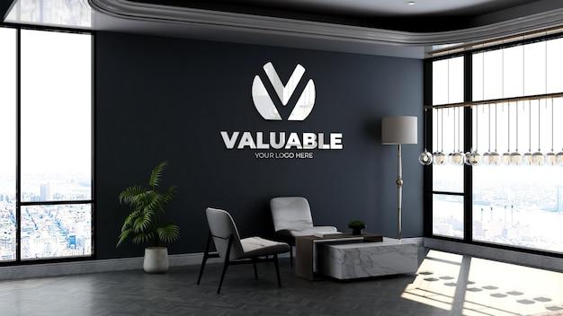 Maquette du logo de l'entreprise dans la salle d'attente du hall du bureau avec table et chaise design d'intérieur de luxe