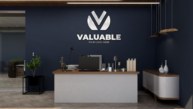 Maquette du logo de l'entreprise dans la salle du directeur de bureau avec un intérieur design de luxe