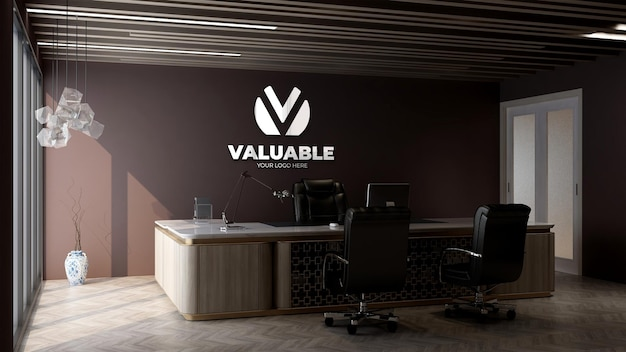 Maquette du logo de l'entreprise dans la salle du directeur de bureau