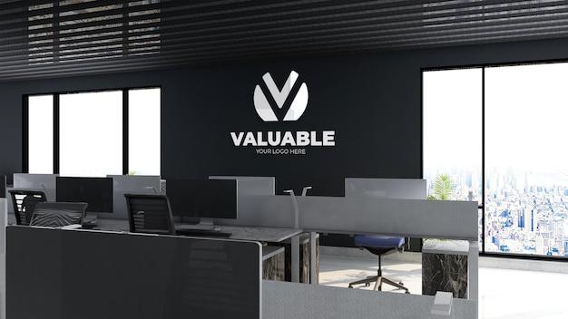 Maquette du logo de l'entreprise dans la salle de travail du bureau