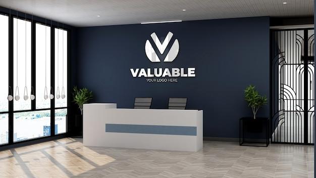 Maquette du logo de l'entreprise à la réception du bureau ou dans la salle de réception