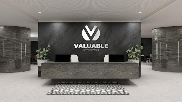 Maquette du logo de l'entreprise à la réception du bureau de luxe ou à la réceptionniste roo