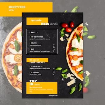 Maquette du menu alimentaire du restaurant moody