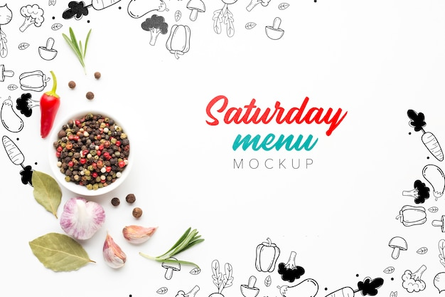 Maquette du menu du samedi avec du poivre et des épices