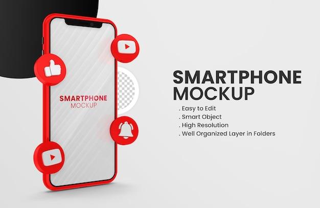 Avec la maquette du smartphone de l'icône youtube de rendu 3d